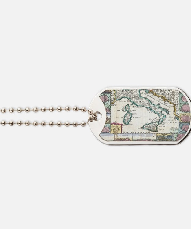 Vintage Map of Italy (1706) Dog Tags