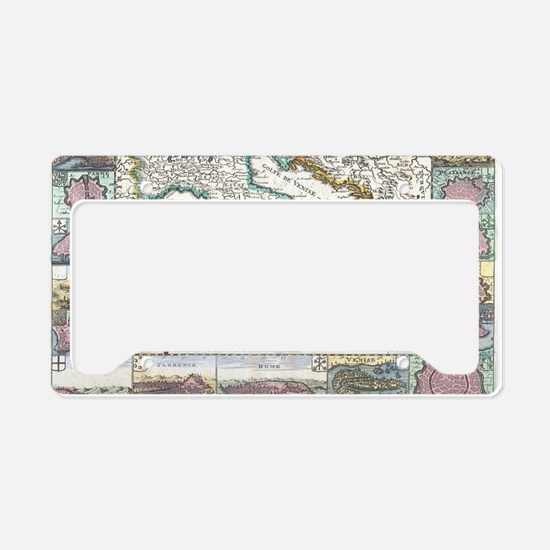 Vintage Map of Italy (1706) License Plate Holder