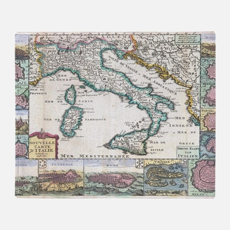 Vintage Map of Italy (1706) Throw Blanket