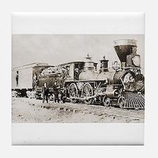 old west trains Tile Coaster