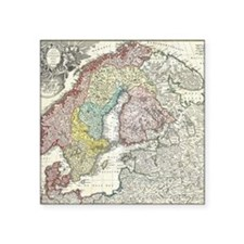 "Vintage Map of Scandinavia  Square Sticker 3"" x 3"""