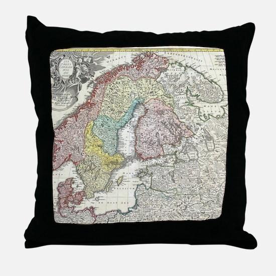 Vintage Map of Scandinavia (1730) Throw Pillow