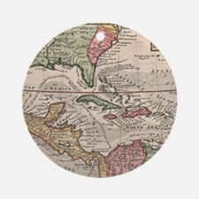 Vintage Map of the Caribbean (1732) Round Ornament