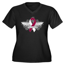Throat Cancer Fighter Wings Plus Size T-Shirt