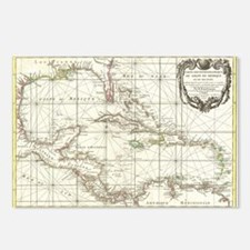 Vintage Map of The Caribb Postcards (Package of 8)