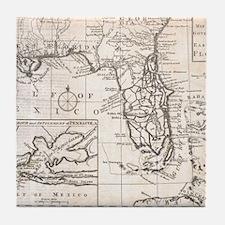 Vintage Map of Florida (1763) Tile Coaster