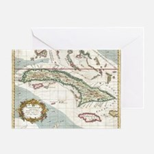 Vintage Map of Cuba and Jamaica (176 Greeting Card