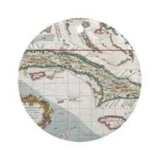 Vintage Map of Cuba and Jamaica (17 Round Ornament