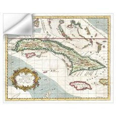 Vintage Map of Cuba and Jamaica (1763) Wall Decal