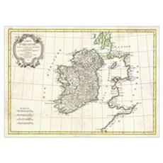 Vintage Map of Ireland (1771) Poster