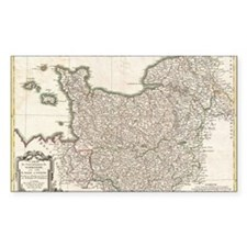 Vintage Map of Normandy (1771) Decal