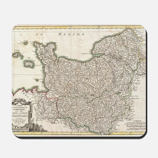 Vintage Map of Normandy (1771) Mousepad
