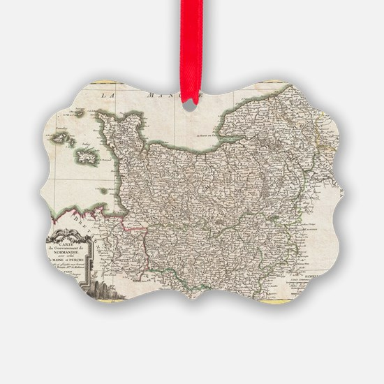 Vintage Map of Normandy (1771) Ornament