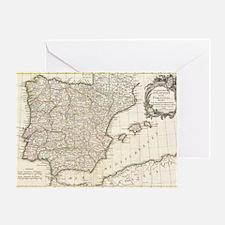Vintage Map of Spain (1775) Greeting Card