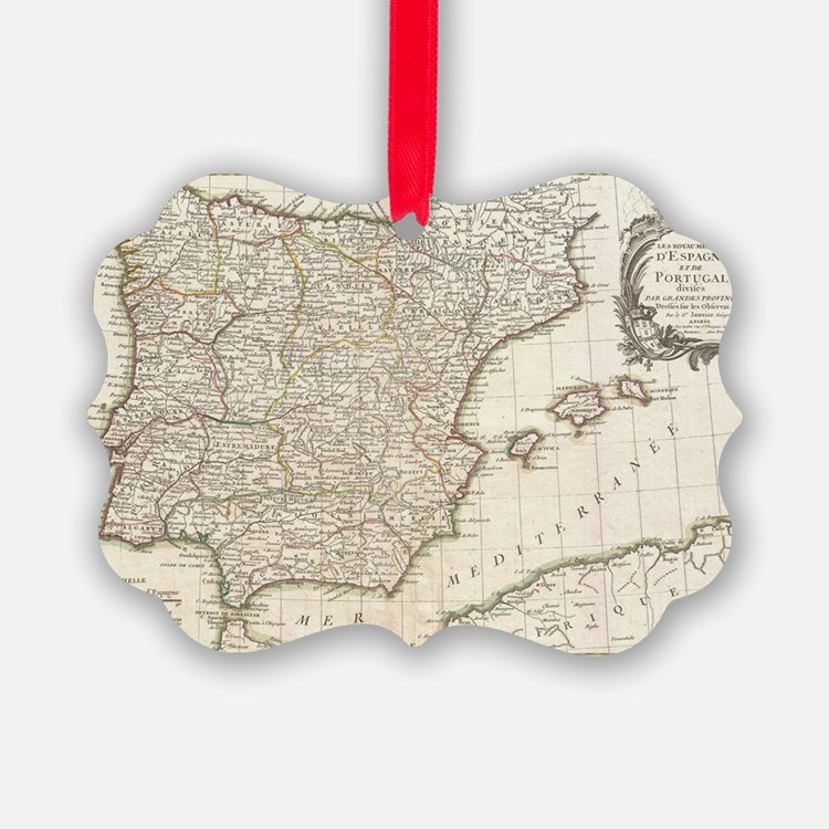Vintage Map of Spain (1775) Ornament