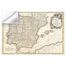 Vintage Map of Spain (1775) Wall Decal