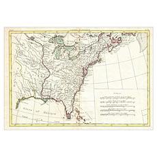 Thirteen Colonies Vintage Map (1776) Poster