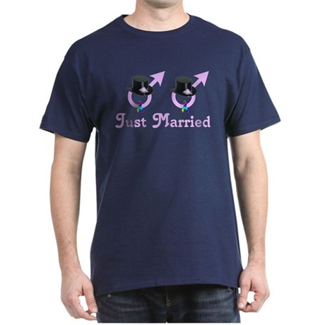 Just Married Formal Gay Male Dark T-Shirt
