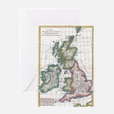 Vintage Map of The British Isles (17 Greeting Card