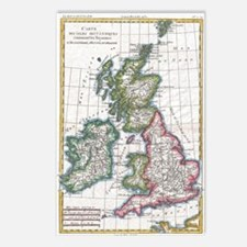 Vintage Map of The Britis Postcards (Package of 8)
