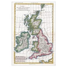 Vintage Map of The British Isles (1780) Canvas Art