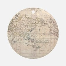 Vintage Map of The World (1799) Round Ornament
