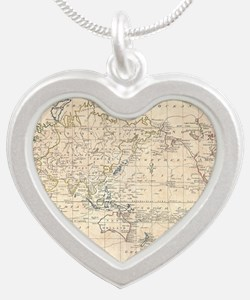 Vintage Map of The World (17 Silver Heart Necklace