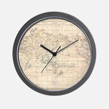 Vintage Map of The World (1799) Wall Clock