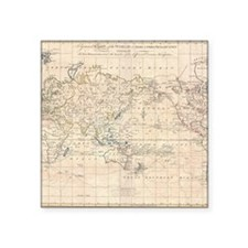 "Vintage Map of The World (1 Square Sticker 3"" x 3"""