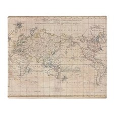 Vintage Map of The World (1799) Throw Blanket