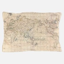 Vintage Map of The World (1799) Pillow Case