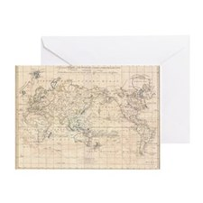 Vintage Map of The World (1799) Greeting Card