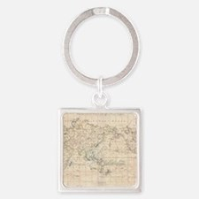 Vintage Map of The World (1799) Square Keychain