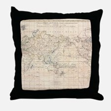 Vintage Map of The World (1799) Throw Pillow
