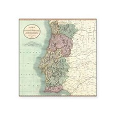 "Vintage Map of Portugal (18 Square Sticker 3"" x 3"""