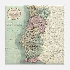 Vintage Map of Portugal (1801) Tile Coaster
