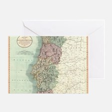 Vintage Map of Portugal (1801) Greeting Card