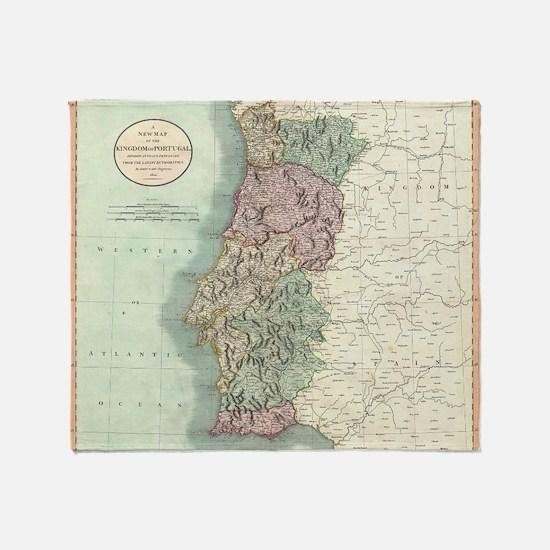 Vintage Map of Portugal (1801) Throw Blanket