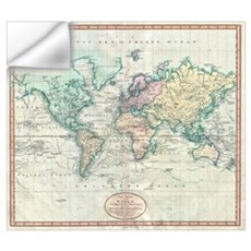Vintage Map of The World (1801) Wall Decal