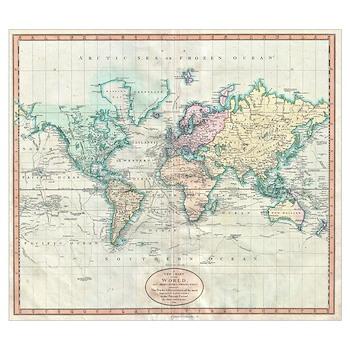 vintage map of the world 1801 framed print