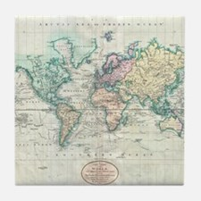 Vintage Map of The World (1801) Tile Coaster