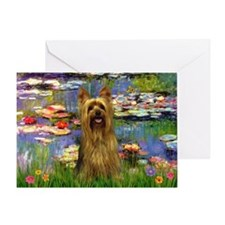 Lilies & Silky Terrier Greeting Card
