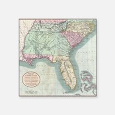 "Vintage Map of The Southeas Square Sticker 3"" x 3"""