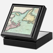 Vintage Map of Nova Scotia and Newfou Keepsake Box
