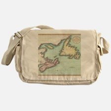 Vintage Map of Nova Scotia and Newfo Messenger Bag