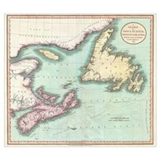 Vintage Map of Nova Scotia and Newfoundland (1807) Framed Print