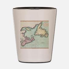 Vintage Map of Nova Scotia and Newfound Shot Glass