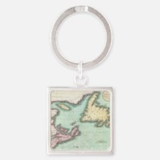 Vintage Map of Nova Scotia and New Square Keychain