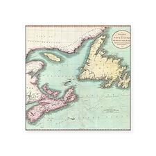 "Vintage Map of Nova Scotia  Square Sticker 3"" x 3"""