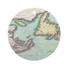 Vintage Map of Nova Scotia and Newf Round Ornament